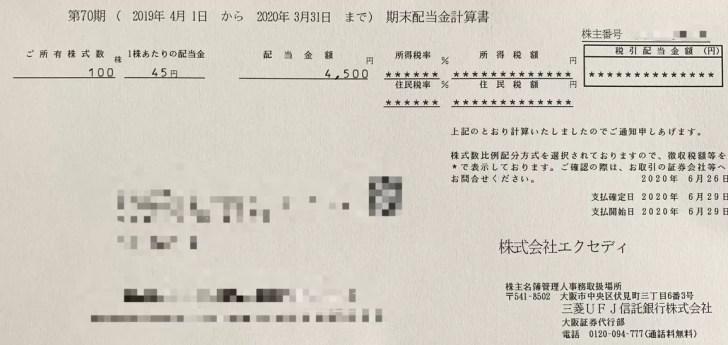 エクセディの期末配当金計算書(2020年3月期末分)