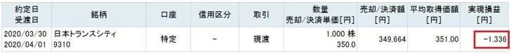 日本トランスシティ(9310)の株主優待取得コスト
