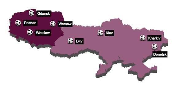 Peta Polandia & Ukraina - Euro 2012