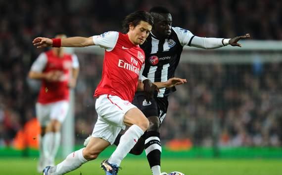 EPL - Arsenal v Newcastle United, Tomas Rosicky and Cheik Ismael Tiote
