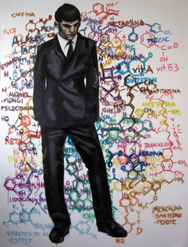 """Which is your chemical structure?/¿Cuál es tu estructura química?"" Oil/canvas. 150x200. 2011, Algorta"