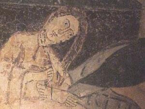 Magdalena lava los pies a Jesus. Maderuelo.