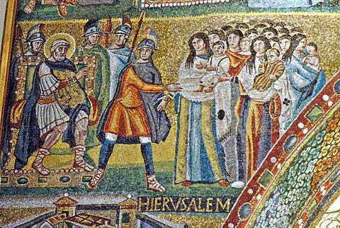 Herodes, matanza de los inocentes, detalle de Santa Maria la Mayor en Roma.