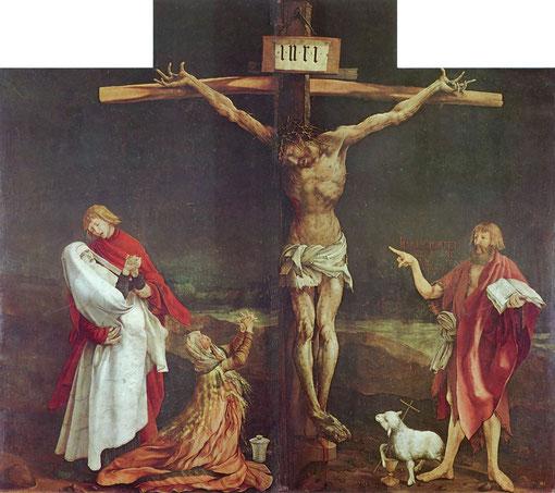 La Crucifixión de Matthias Grunewald, Renacimiento.Realizado entre 1512-1516.Museo de Unterlindem,Colmar,Alsacia,Francia.(269 cm x 307 cm)