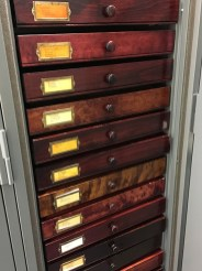 Original collection drawers made by inmates of the Ohio Penitentiary.