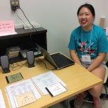 OSU undergraduate Amy selling animal sound CDs produced by the Borror lab