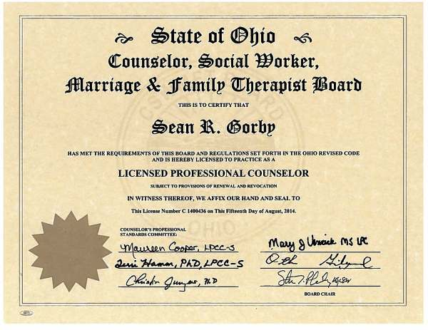 Certificates | Sean Gorby