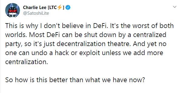Charlie Lee of Litecoin (LTC) Bashes DeFi