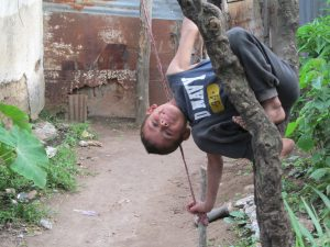 Kevin also decided to be a monkey only he actually made a swing out of a branch and rope...so creative!!