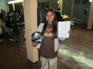 Lily with her soccer ball and bible verses!  Love that she's also sporting my Servants shirt which now belongs to her because she ran out of shirts for the weekend.