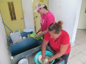 Missy and Olga preparing the food!