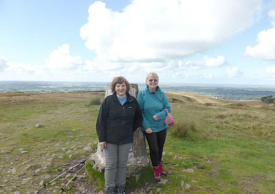 Two intrepid walkers on the summit of Nicky Nook on 8th October 2015