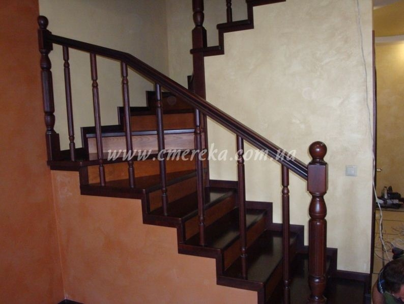 Semi Spiral Staircase With Hand Rail From A Natural Tree Buy In Kiev | Semi Spiral Staircase Design | Handrail | Inside | Semi Circular | Elegant | Residential Library