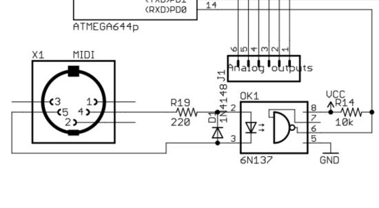Example MIDI to Arduino from MI Shruthi