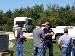 Students from the Poultry Careers class meeting with representatives from Simmons Foods and Tyson Foods on the farm.
