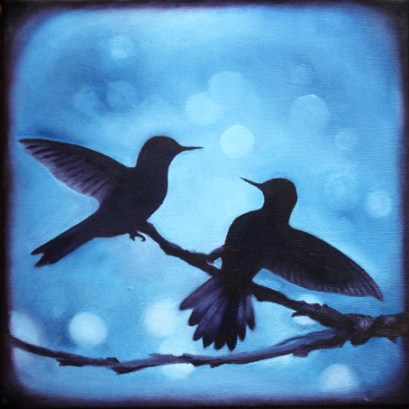 The Bokeh Birds - oil on canvas