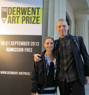 Adam Harvey and Avi Tal outside the Derwent Drawing Prize Exhibition at the Mall Galleries, London.