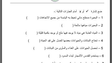 Photo of وحدة اماكن صالحة للعيش درس مواطن مائية الصف الاول