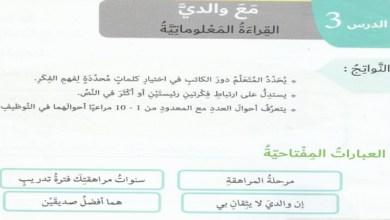 Photo of الدرس الثالث قراءة معلوماتية (مع والدي) لغة عربية صف سابع فصل أول