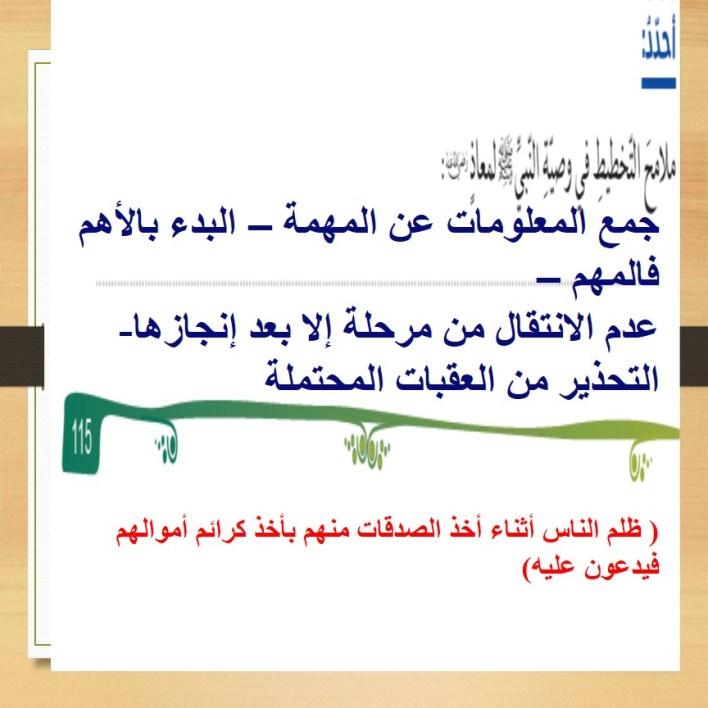 حل درس معالم التخطيط في سيرة الرسول