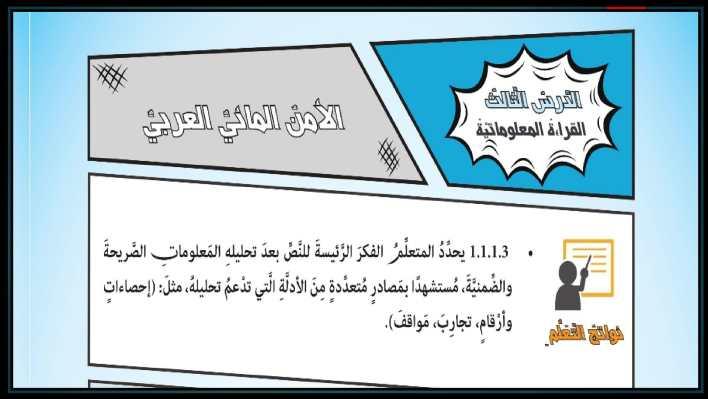 حل درس قراءة معلوماتية الأمن المائي لغة عربية صف ثامن فصل ثاني