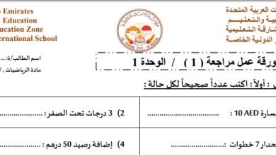 Photo of صف سادس فصل ثاني أوراق عمل رياضيات مراجعة الوحدة الأولى