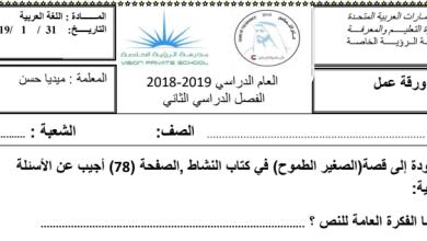Photo of صف ثالث فصل ثاني أوراق عمل لغة عربية الصغير الطموح