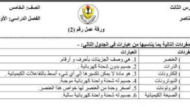 Photo of صف خامس فصل أول علوم  ورق عمل العناصر