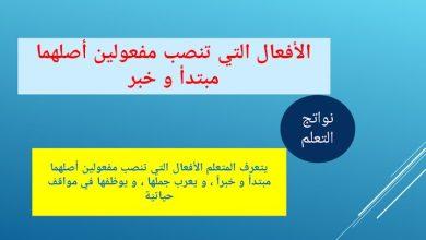 Photo of صف تاسع فصل ثاني لغة عربية حلول درس الأفعال التى تنصب مفعولين