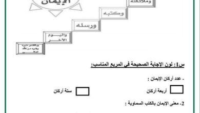 Photo of صف أول فصل ثاني تربية إسلامية ورق عمل الوحدة الثالثة