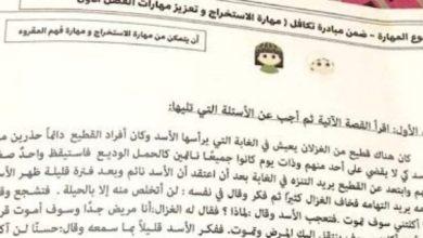 Photo of صف رابع فصل ثاني ورق عمل لغة عربية فهم المقروء