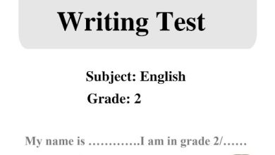 Photo of امتحان كتابة لغة إنجليزية مع الحل صف ثاني فصل ثاني