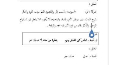 Photo of صف سابع فصل ثاني لغة عربية شرح قصيدة قوة العلم