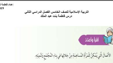 Photo of صف خامس فصل ثاني اوراق عمل درس فاطمة بنت عبد الملك