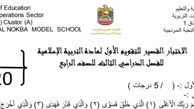 Photo of اختبار تقويم تربية إسلامية صف رابع فصل ثالث