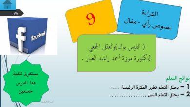 Photo of حل درس الفيسبوك والعقل الجمعي لغة عربية صف عاشر فصل ثاني