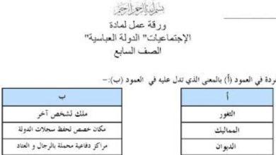 Photo of صف ثامن فصل ثاني ورقة عمل الدولة العباسية دراسات اجتماعية