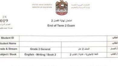 Photo of امتحان نهاية الفصل الثاني 2019 لغة إنجليزية صف ثاني