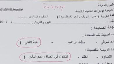 Photo of صف سادس فصل ثاني ورقة اختبار  في اللغة العربية دروس (حديث شريف – نغم السعادة)