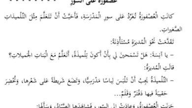 Photo of صف ثاني فصل ثاني تمارين فهم واستيعاب في مادة اللغة العربية لنص عصفورة على السور