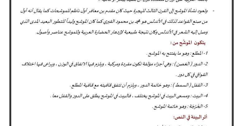 تحليل وشرح موشح جادك الغيث القسم الأول لغة عربية صف ثاني عشر فصل ثاني-1