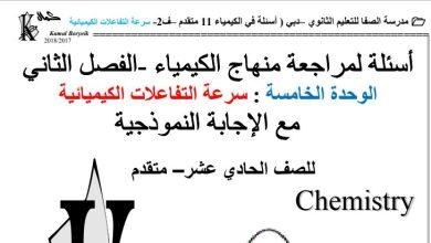 Photo of مراجعه سرعة التفاعلات الكيميائيه كيمياء صف عاشر متقدم فصل ثالث
