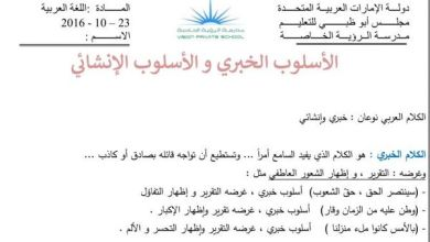 Photo of ورقة عمل الاسلوب الخبري والانشائي عربي صف سادس