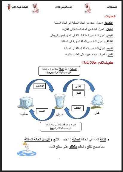 أوراق عمل محلولة تغيرات المادة علوم صف ثالث فصل ثالث
