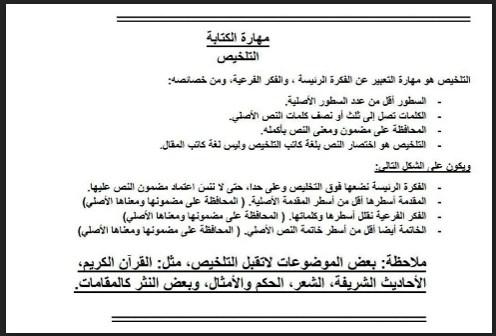 تلخيص لمهارة الكتابة لغة عربية صف ثالث