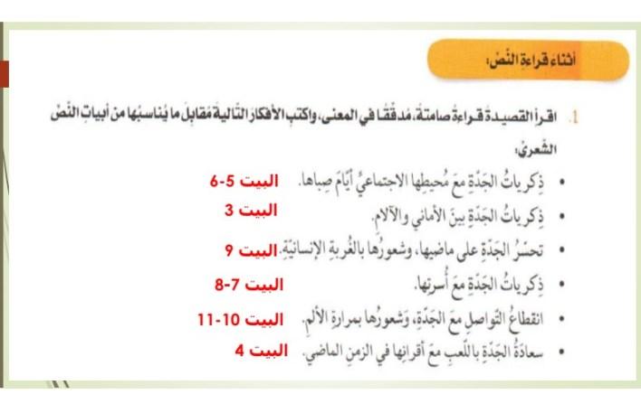 حلول درس لغة العربية : ( ذكرى جدتي )