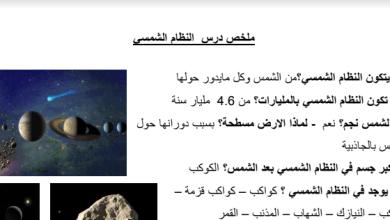 Photo of ملخص درس النظام الشمسي علوم صف سادس فصل ثالث