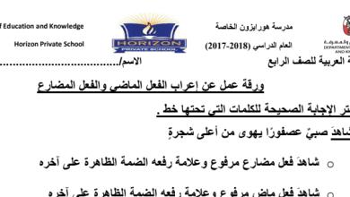 Photo of ورق عمل إعراب الفعل الماضي والمضارع لغة عربية صف رابع فصل ثالث