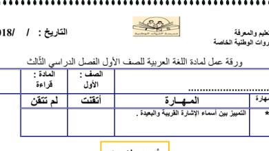 Photo of ورقة عمل أسماء الإشارة لغة عربية صف أول فصل ثالث