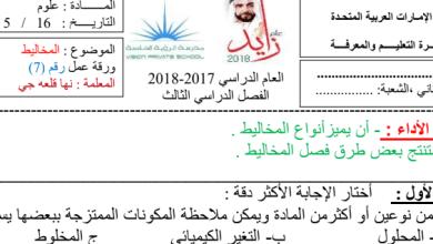 Photo of ورق عمل المخاليط علوم صف ثاني فصل ثالث